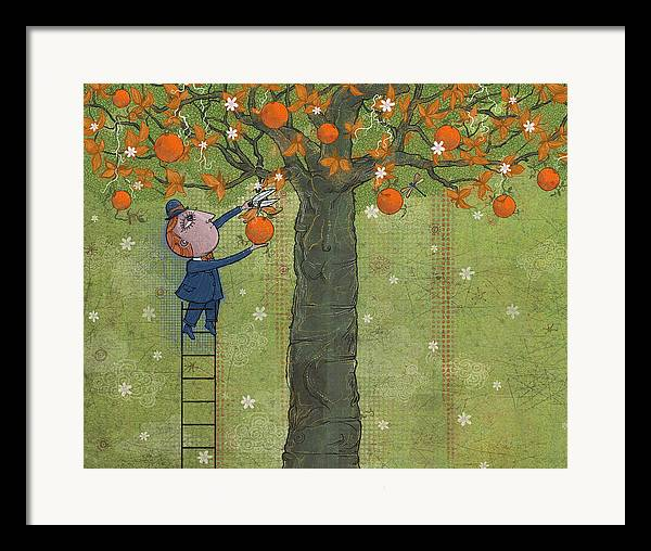 Oranges Framed Print featuring the digital art Oranges And Dragonfly Three by Dennis Wunsch