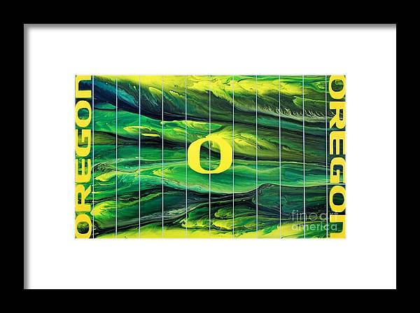 University Of Oregon Framed Print featuring the painting Oregon Football by Michael Cross