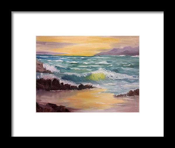 Oregon Framed Print featuring the painting Oregon Seascape by Larry Hamilton
