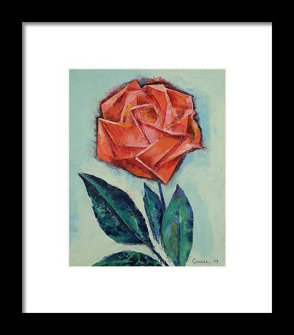 Origami Framed Print featuring the painting Origami Rose by Michael Creese