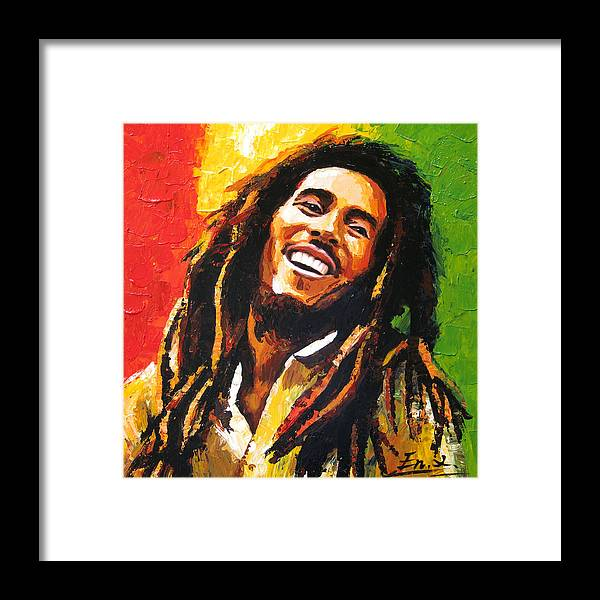 original painting Bob Marley Framed Print by Enxu Zhou