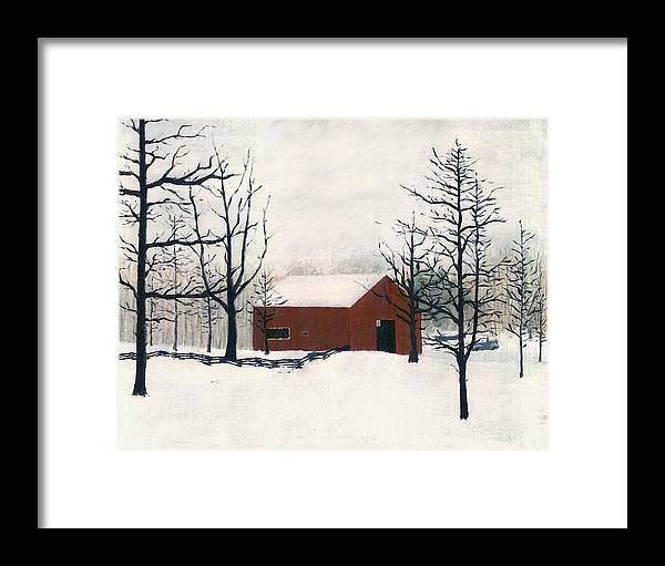 Maryland Framed Print featuring the painting Original Painting Red Barn Snow Maryland by G Linsenmayer