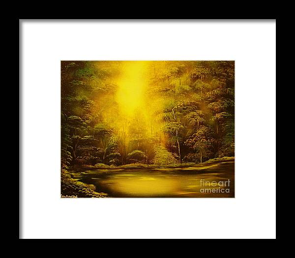 Landscape Framed Print featuring the painting Green Forest Glow-original Sold- Buy Giclee Print Nr 35 Of Limited Edition Of 40 Prints by Eddie Michael Beck