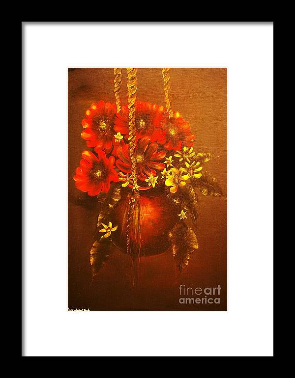 Flower Framed Print featuring the painting Hanging Flower Pot-original Sold-buy Giclee Print Nr 24 Of Limited Edition Of 40 Prints  by Eddie Michael Beck