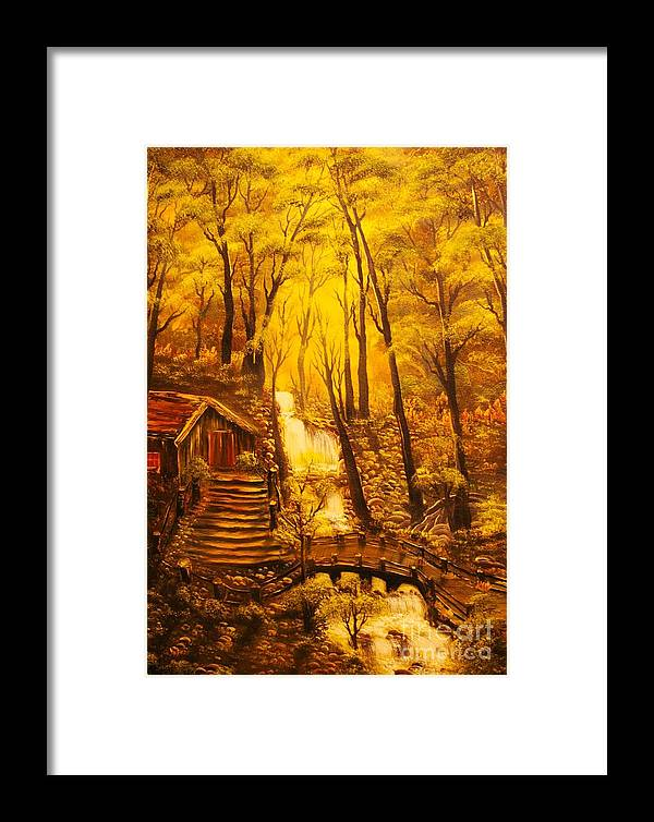 Tranquil Framed Print featuring the painting Tranquil Cottage Stream- Original Sold -buy Giclee Print Nr 38 Of Limited Edition Of 40 Prints by Eddie Michael Beck