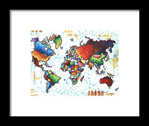 Colorful World Map Art.Original Vibrant Colorful World Map Pop Art Style Painting By Megan