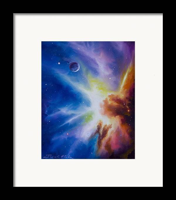 James Christopher Hill; Cosmos; Cosmic; Stars; Stellar; Gas; Clouds; Nebula; Nebulae; Planets; Quasars; Pulsars; Black Holes; Universe; Dark Matter; Anti Matter; Dark Energy; Hydrogen; Star Nursery; Galaxy; Einstien; Hawking; Jupitor; Sun; Gas Giant; Red Drawf; Red Giant; Blue Star; Saturn; Earth; Moon; Uranus; Neptune; Io; Mars; Europa; Pluto; Solar System; Star System; Space Scenes; Starship; Cruiser; Spaceship Framed Print featuring the painting Orion Nebula by James Christopher Hill