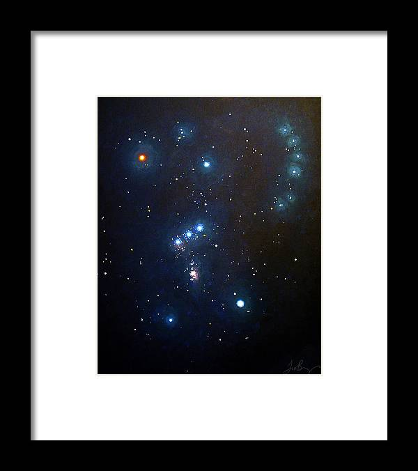 Constellation Framed Print featuring the painting Orion the Hunter by Timothy Benz