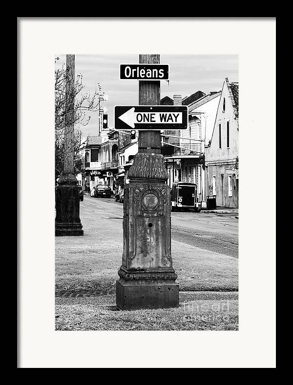 Orleans One Way Framed Print featuring the photograph Orleans One Way by John Rizzuto