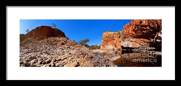 Outback Water Hole Central Australia Northern Territory Australian Landscape Landscapes Rocky Outcrop Ghost Gums Trees Cliff Face West Macdonnell Ranges Framed Print featuring the photograph Ormiston Gorge by Bill Robinson