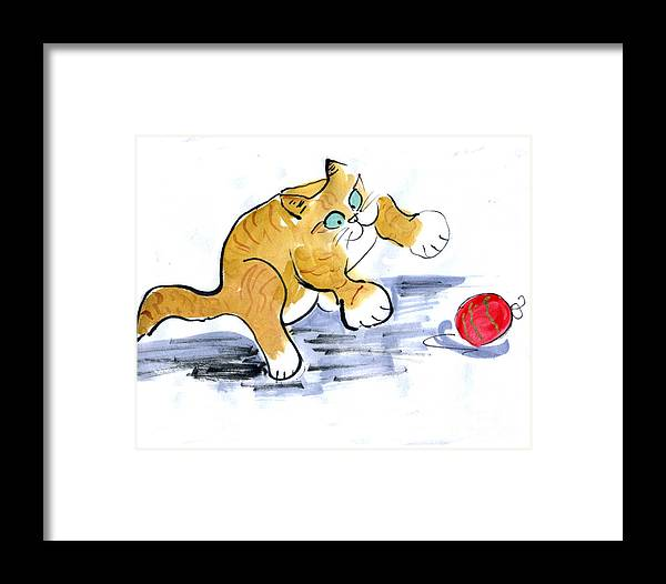 Sumi-e Framed Print featuring the painting Ornament Pounce by Ellen Miffitt