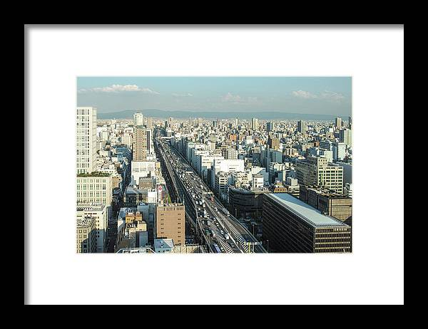Osaka Prefecture Framed Print featuring the photograph Osaka Cityscape by I Love Photo And Apple.