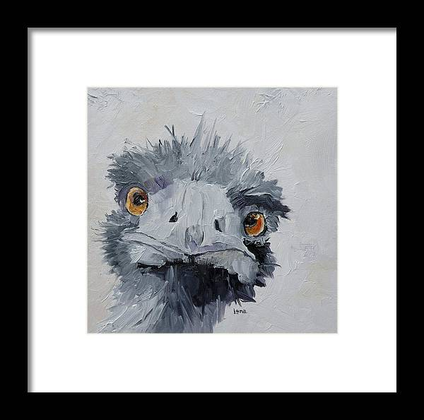 Ostrich Paintings Framed Print featuring the painting Ostrich by Saundra Lane Galloway