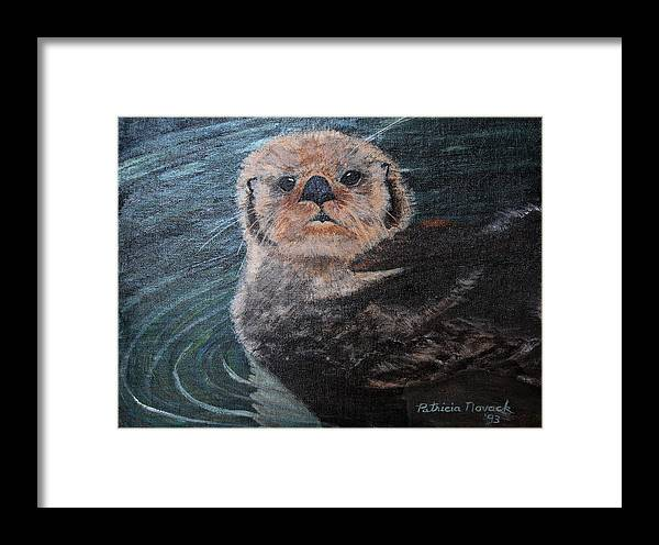 Otters Framed Print featuring the painting Ottertude by Patricia Novack