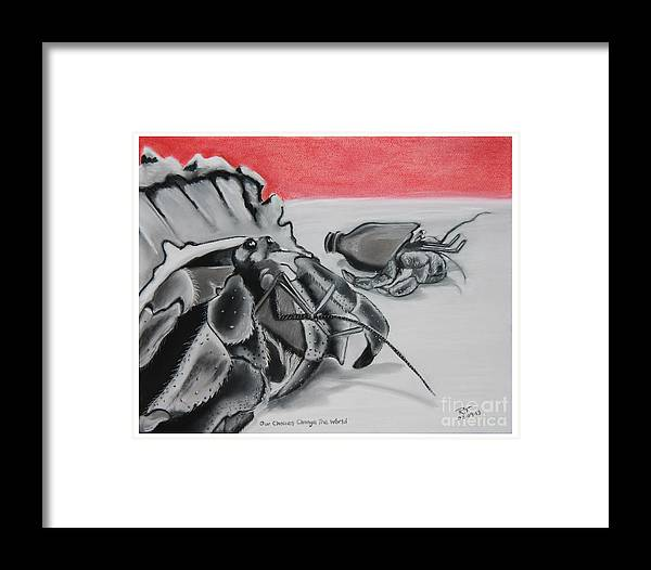 Hermit Crab Framed Print featuring the pastel Our Choices Change The World by Robert Timmons