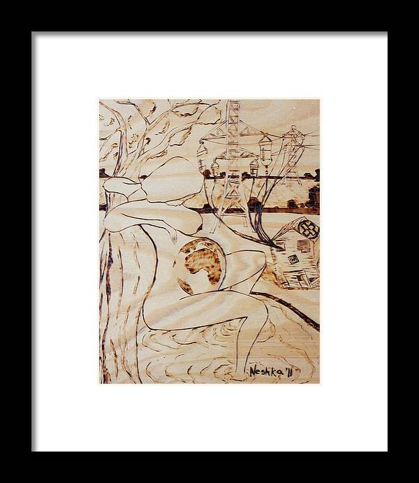 Being Born Framed Print featuring the pyrography Our World No.7 - Being Born by Neshka Muchalska