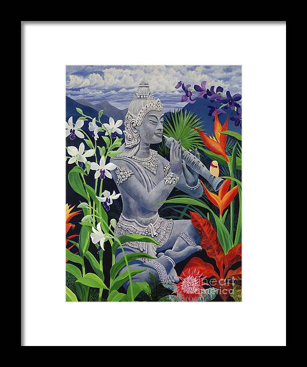 Buddah Framed Print featuring the painting Out Of The Blue by Danielle Perry
