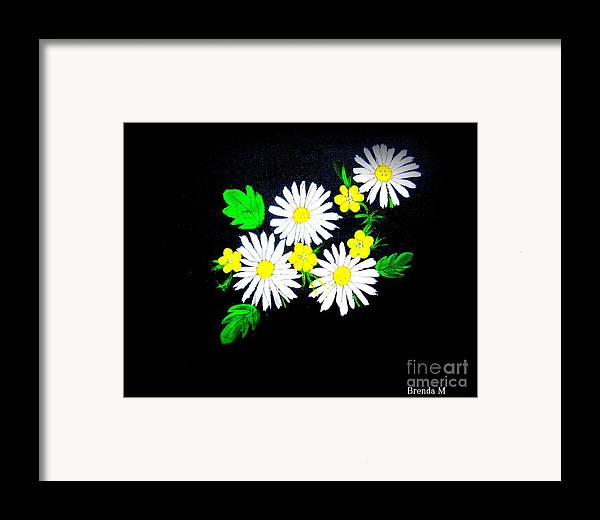 Daisy Framed Print featuring the painting Out Of The Darkness Comes Light by Brenda Mayall