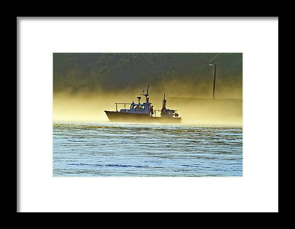 Cape Cod Canal Framed Print featuring the photograph Out Of The Fog by Constantine Gregory