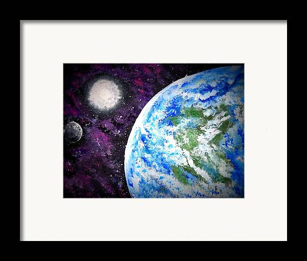 Outer Space Framed Print featuring the painting Out Of This World by Daniel Nadeau