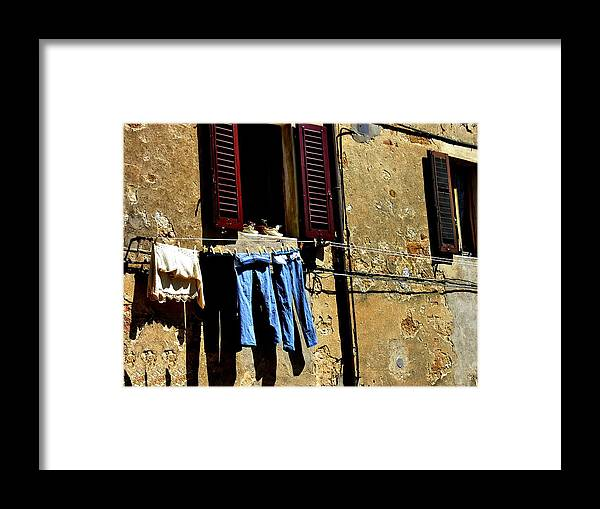 Framed Print featuring the photograph Out To Dry In San Gimigniano Tuscany by Jacqueline M Lewis