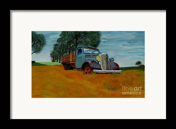 Truck Framed Print featuring the painting Out To Pasture by Anthony Dunphy