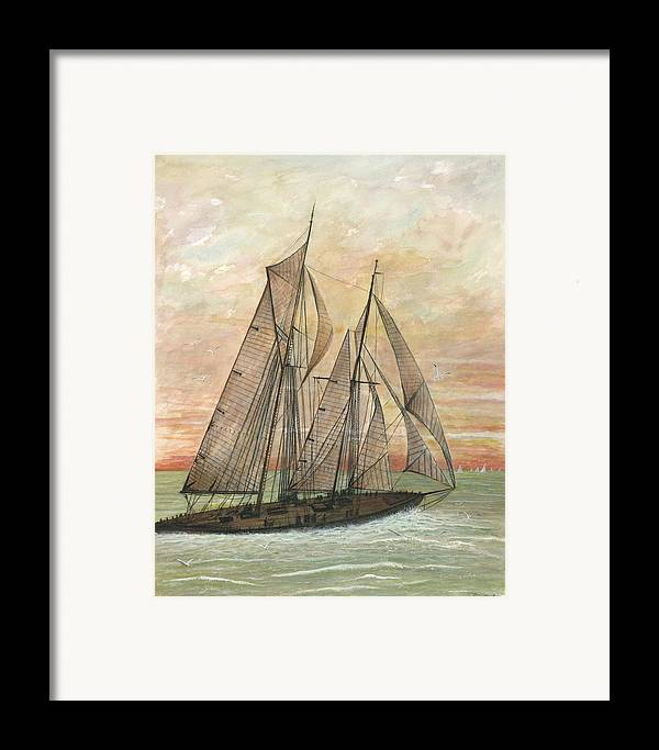 Sailboat; Ocean; Sunset Framed Print featuring the painting Out To Sea by Ben Kiger