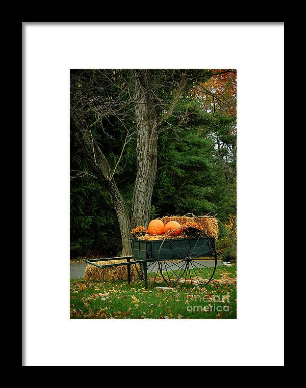Autumn Framed Print featuring the photograph Outdoor Fall Halloween Decorations by Amy Cicconi