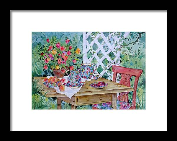English Chintz China Framed Print featuring the painting Outdoor Tea by Sherri Crabtree