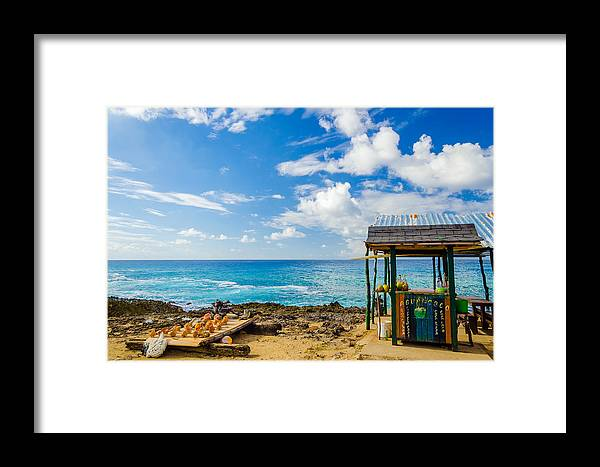 Bay Framed Print featuring the photograph Outdoor Tropical Bar And Souvenirs by Jess Kraft