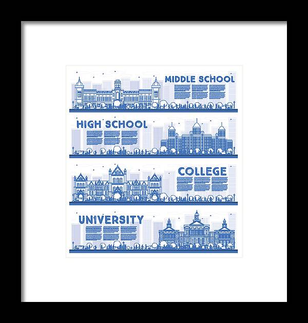 Outline Set Of University, High School And College Study Banners  Framed  Print