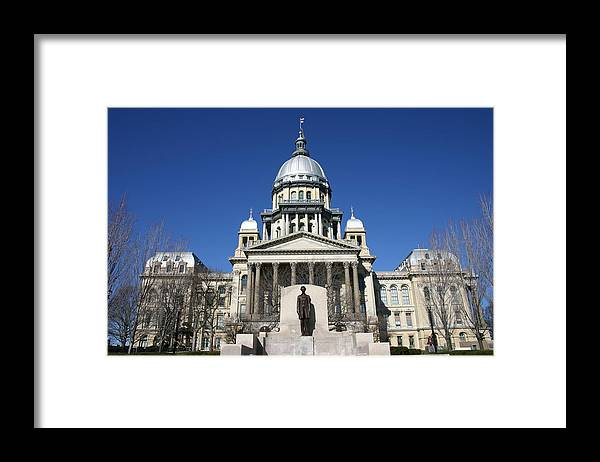 Democracy Framed Print featuring the photograph Outside view of the Illinois State Capitol Building by On-Track