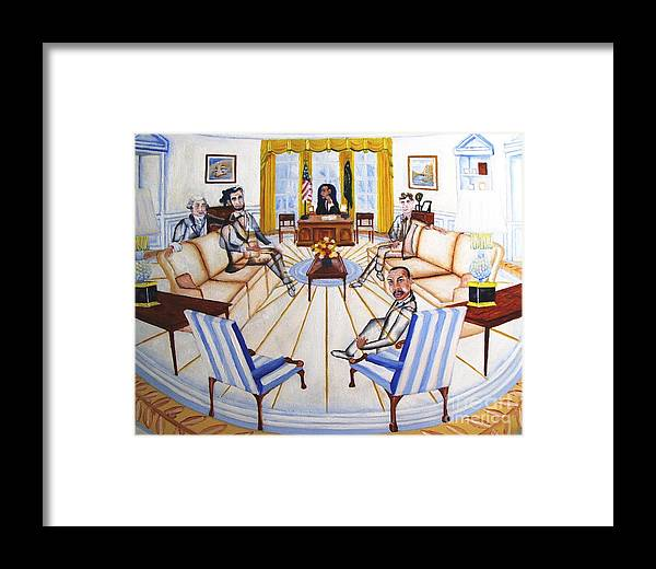 Oval Office Ghost With President Obama Lincoln Washington Kennedy And Martin Luther King. Government Obama Chairs Sofa Gold Browns Blues Lamps Framed Print featuring the painting Oval Office Ghost With President Obama by Kenneth Michur