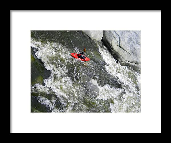 Kayak Framed Print featuring the photograph Over The Falls by Frank Wilson