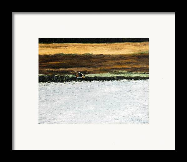 Wildlife Framed Print featuring the painting Over The Marsh by Scott Alcorn