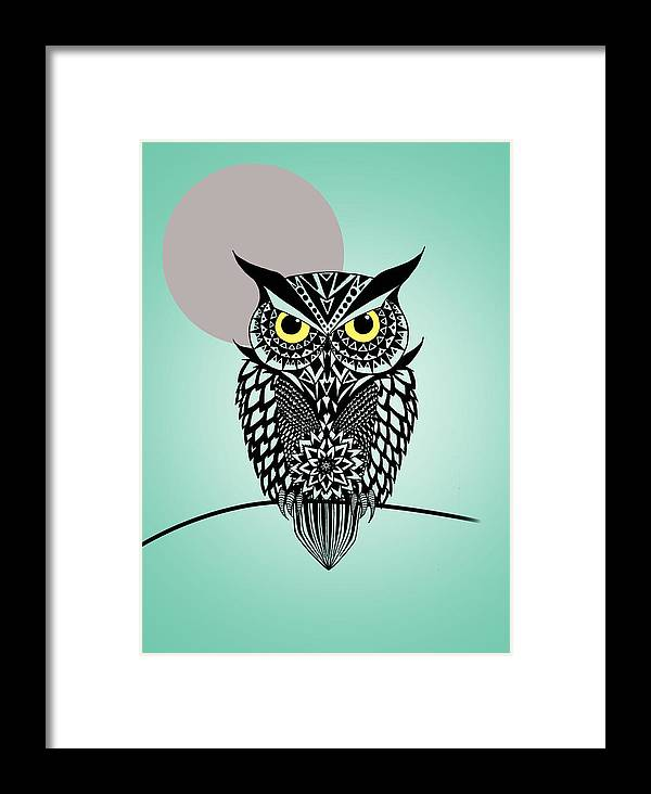 Owl Framed Print featuring the digital art Owl 5 by Mark Ashkenazi