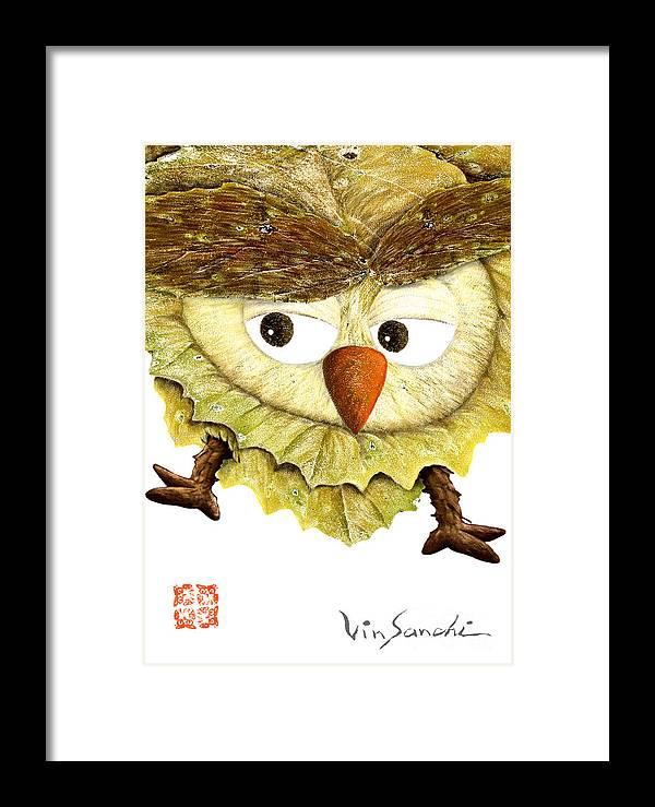 Nature Framed Print featuring the painting Owl Leaf 3 by Vin Kitayama