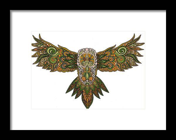 Owl Framed Print featuring the digital art Owl Yellow by Karen Elzinga