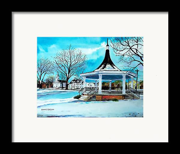 Oxford. Oxford Ma. Massachusetts Framed Print featuring the painting Oxford Bandstand by Scott Nelson