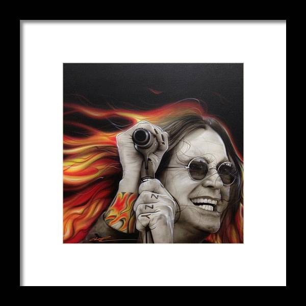 Ozzy Osbourne Framed Print featuring the painting Ozzy's Fire by Christian Chapman Art