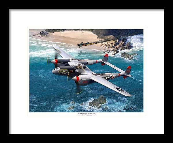 Airplanes Framed Print featuring the painting P-38 Lightning Battle Axe by Mark Karvon