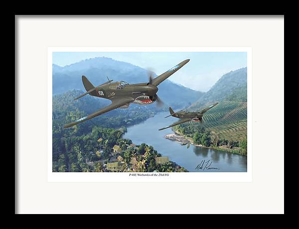 Airplanes Framed Print featuring the painting P-40 Warhawks Of The 23rd Fg by Mark Karvon