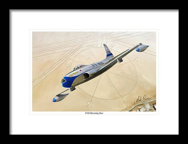 Aviaiton Framed Print featuring the painting P-80 Shooting Star by Mark Karvon