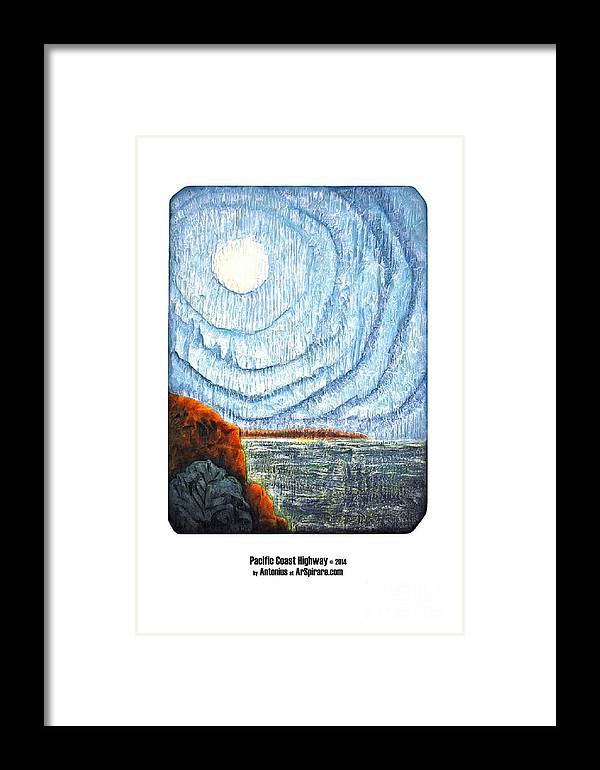 Relief Framed Print featuring the painting Pacific Coast Highway by ArSpirare by Antonius