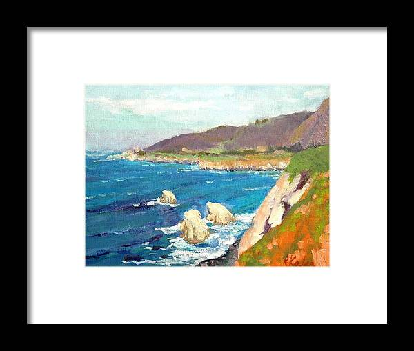 Framed Print featuring the painting Pacific Coast by Raymond Kaler