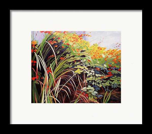 Landscape Framed Print featuring the painting Pacific Crocosmia by Melody Cleary