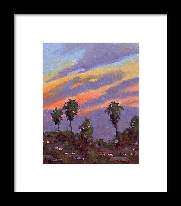 Sunset Framed Print featuring the painting Pacific Sunset 1 by Konnie Kim