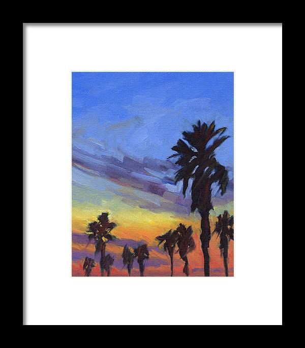 Sunset Framed Print featuring the painting Pacific Sunset 2 by Konnie Kim