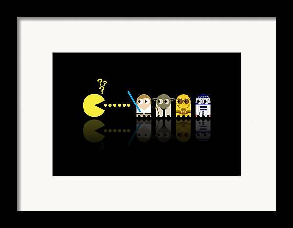Pacman Framed Print featuring the digital art Pacman Star Wars - 3 by NicoWriter