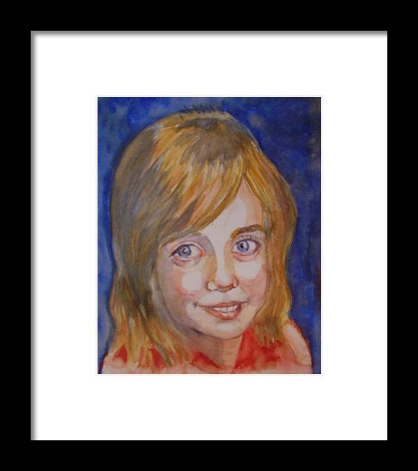 Child Portraiture Pretty Girl Great Grandaughter Framed Print featuring the painting Page by Molly Farr
